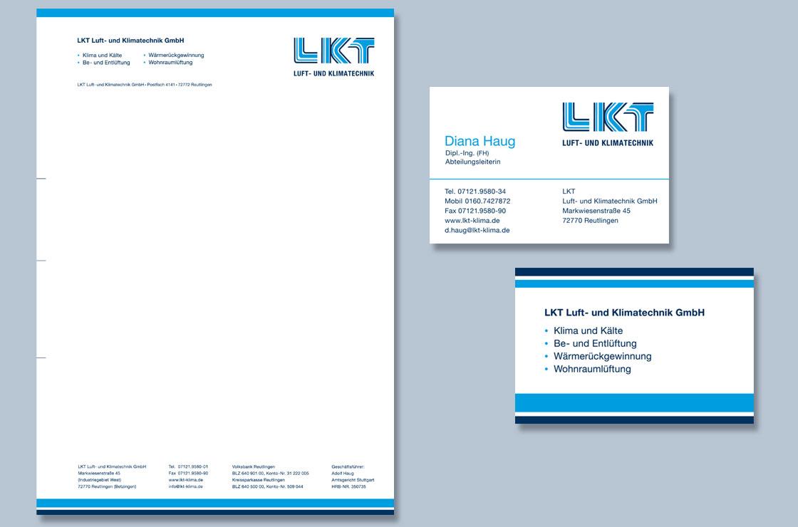 Briefpapier LKT Luft- und Klimatechnik Design by blick-7 Designbüro und Werbeagentur zwischen Tübingen und Reutlingen